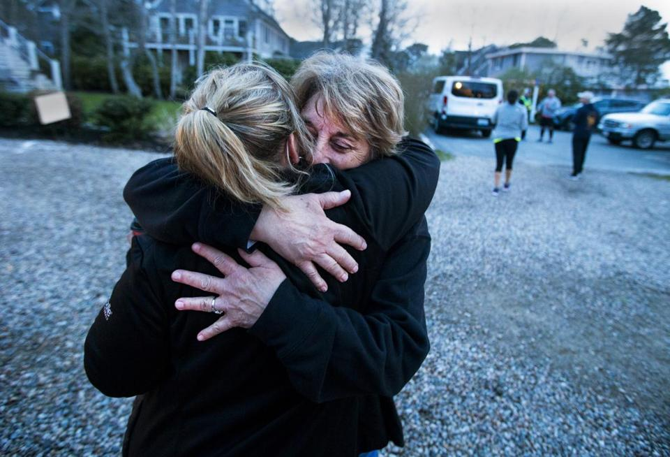 Gold Star Mother Cyndy Jones has a hug for driver Kristen Alexander in Mashpee.