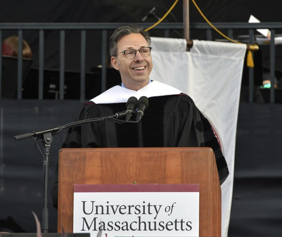 Jake Tapper,Chief Washington Correspondent for CNN, gives the keynote address during the University of Massachusetts' 148th Undergraduate Commencement Ceremony Friday, May 11, 2018, in Amherst, Mass. (Mark M. Murray /The Republican via AP)