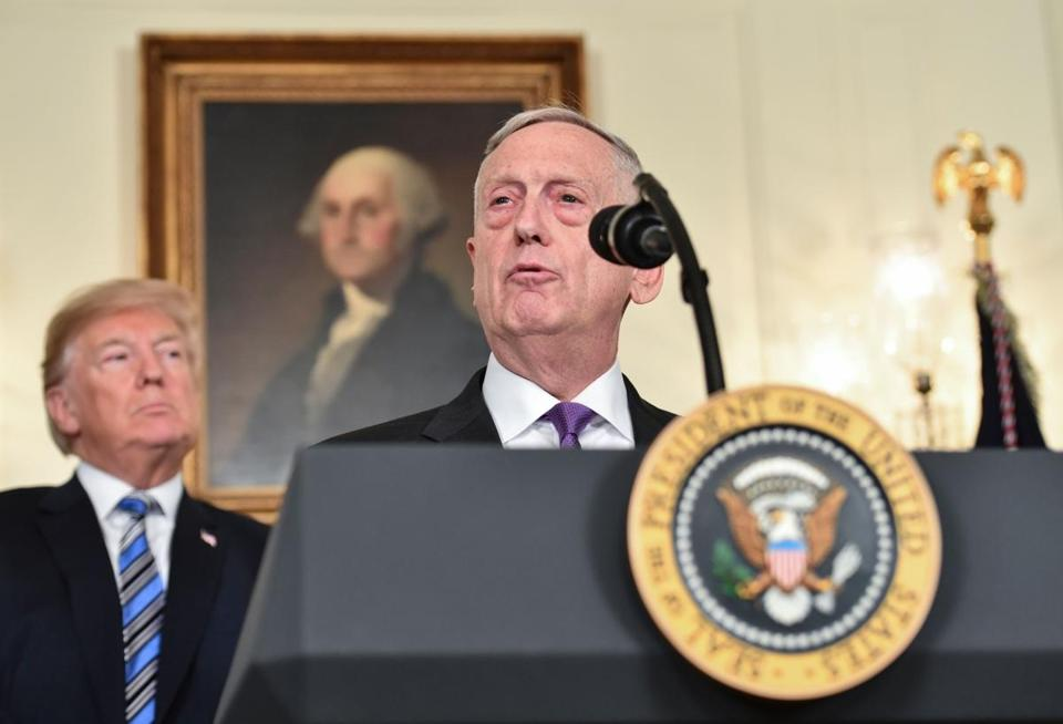 President Trump looked on as Secretary of Defense James Mattis spoke at the White House in March.