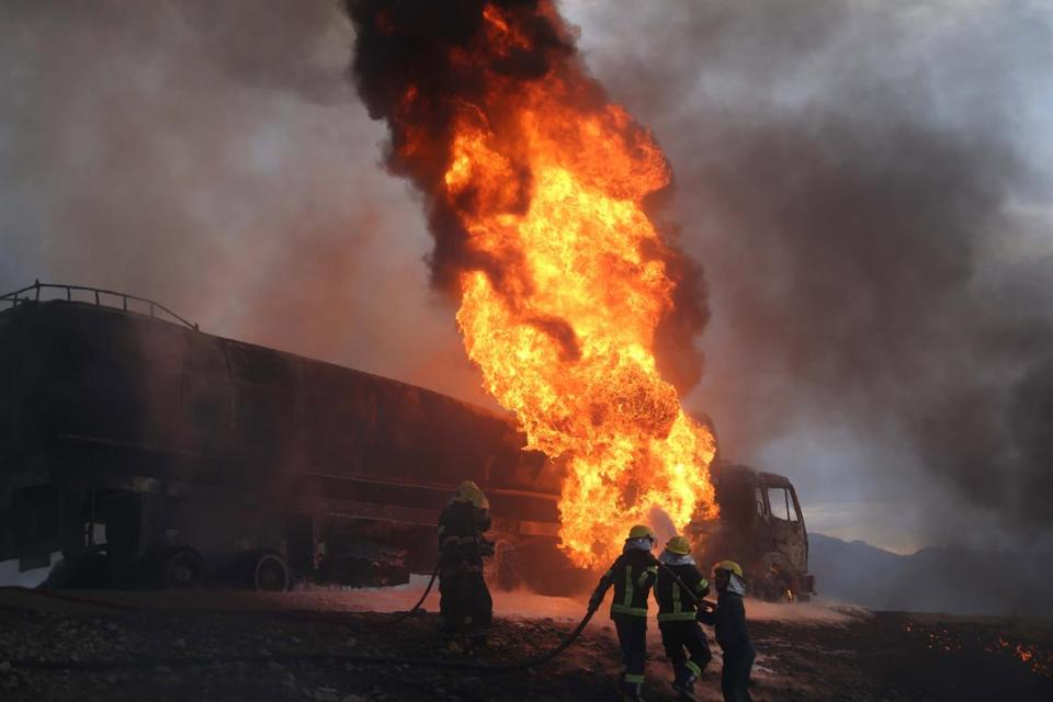 Firefighters in Nangarhar province, Afghanistan, battled flames after oil tankers were allegedly bombed by suspected militantsearlier this month.