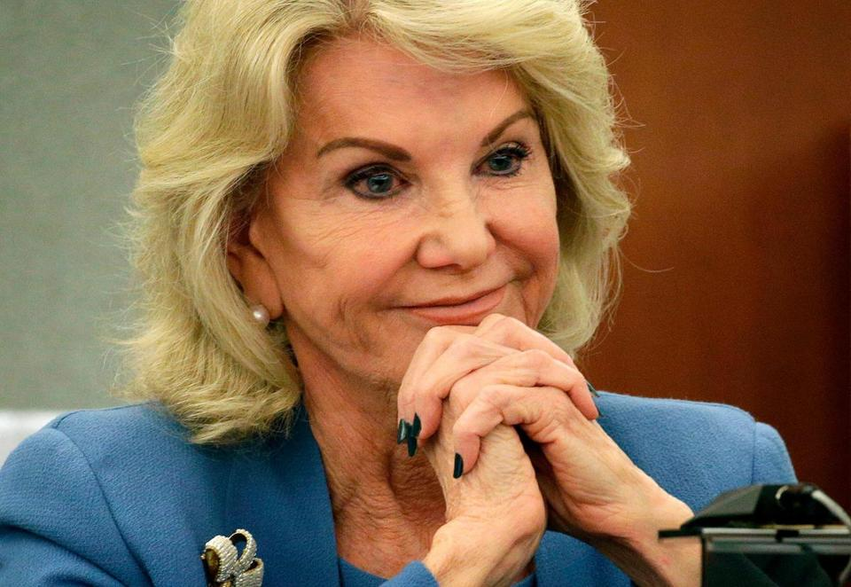 Elaine Wynn, former wife of Steve Wynn, during a hearing in Las Vegas on March 28.