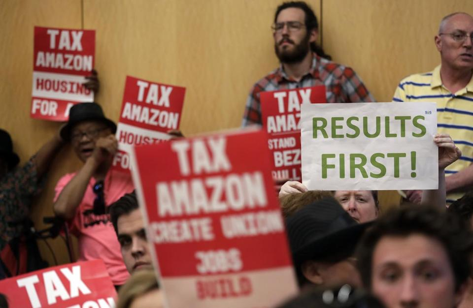 "The Seattle City Council's meeting room was crowded before its ""head tax"" vote on Monday."
