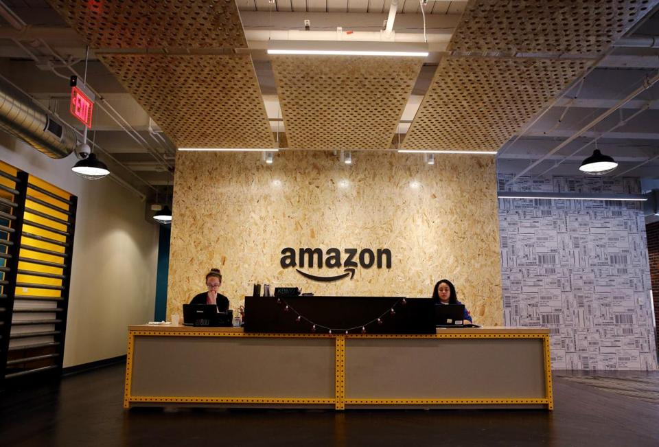Inside Amazon's new Fort Point office on Melcher Street in Boston.