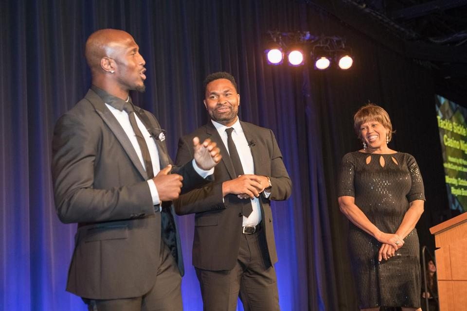 Patriots safety Devin McCourty (left), former Pats linebacker and BMC trustee Jerod Mayo, and the Rev. Liz Walker at the Boston Medical Center gala.