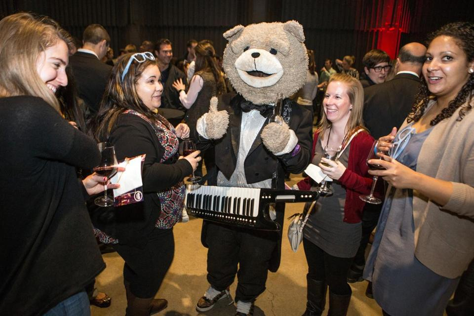 Keytar Bear (center) greeted guests at the Boston Uncommon Party at the Revere Hotel in Boston.