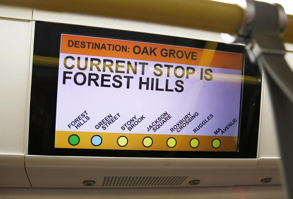 Medford, MA--5/15/2018-- An LCD screen shows off the stops on a new Orange Line car at Wellington Station. (Jessica Rinaldi/Globe Staff) Topic: 17orangeline Reporter: