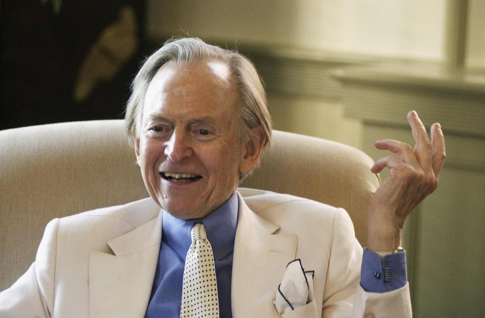 Tom Wolfe, an acclaimed author, speaks as he visits the Washington & Lee University campus in Lexington, Va., in 2005.