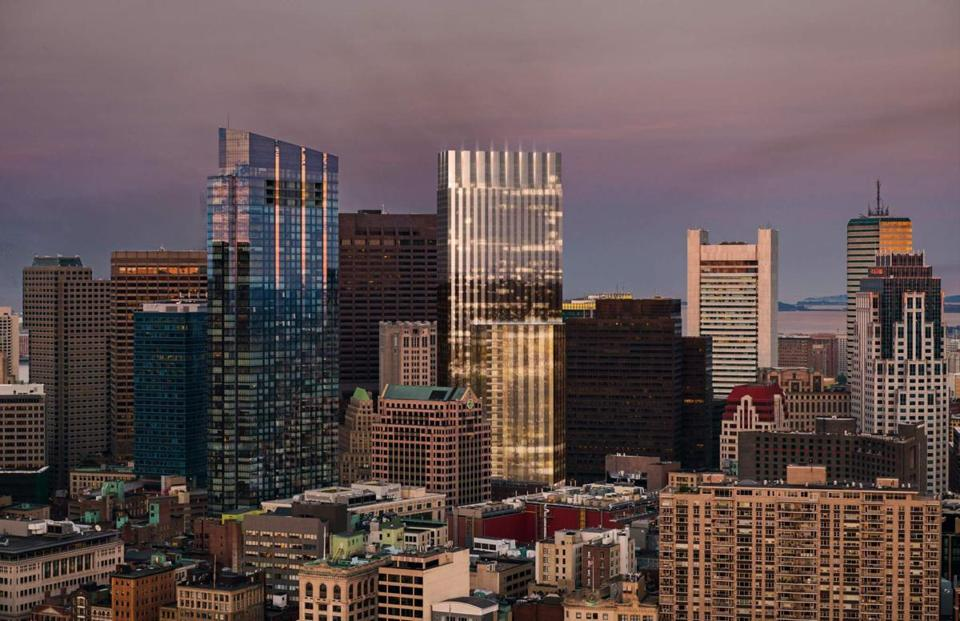 An artist's rendering shows what the Winthrop Square tower (center) would look like on the city's skyline.