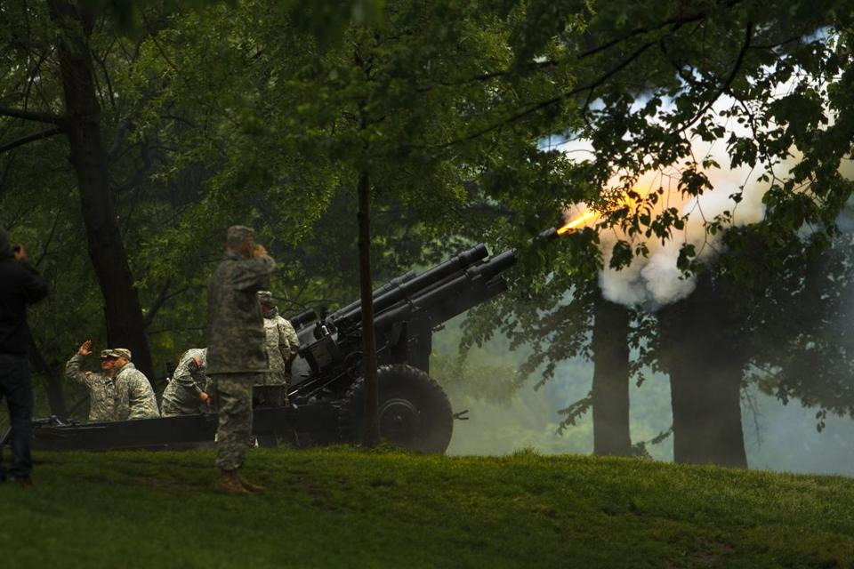 Artillery was fired at the annual change-of-command ceremony organized by the Ancient and Honorable Artillery Company of Massachusetts in 2015. A man claims in a $10 million personal injury lawsuit that his hearing was altered forever when he stumbled upon the ceremony.
