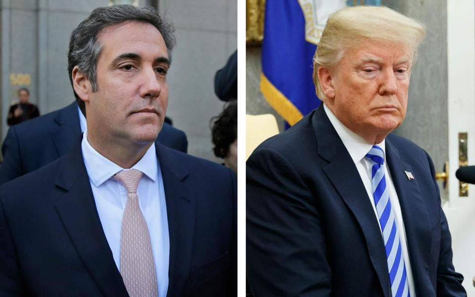 Michael Cohen (left) was reimbursed by President Donald Trump for payments ranging from $100,001 to $250,000.
