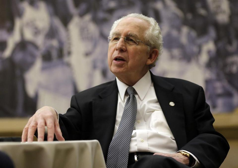 FILE - In this Oct. 25, 2012, file photo, Southeastern Conference Commissioner Mike Slive talks with reporters during the SEC basketball media day in Hoover, Ala. Slive, the former SEC commissioner who guided the league through a period of unprecedented success and prosperity, died Wednesday, May 16, 2018. He was 77. The Southeastern Conference said Slive died in Birmingham, Ala., where he lived with his wife of 49 years, Liz. The conference didn't provide the cause of death. Slive retired in 2015 after 13 years as commissioner. He was battling prostate cancer at the time he stepped down. (AP Photo/Dave Martin, File)
