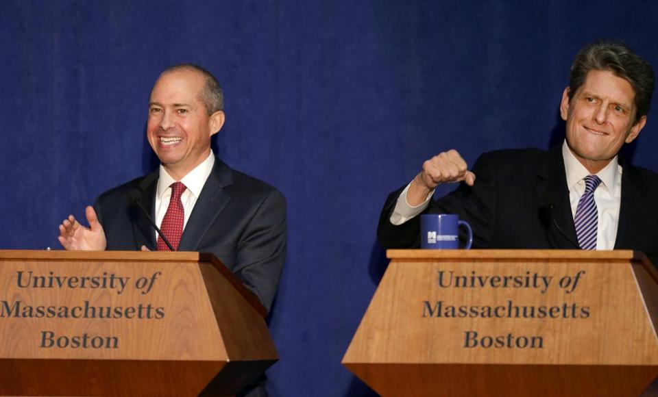Democratic candidates Jay Gonzalez (left) and Bob Massie got pumped up before their debate at UMass Boston.