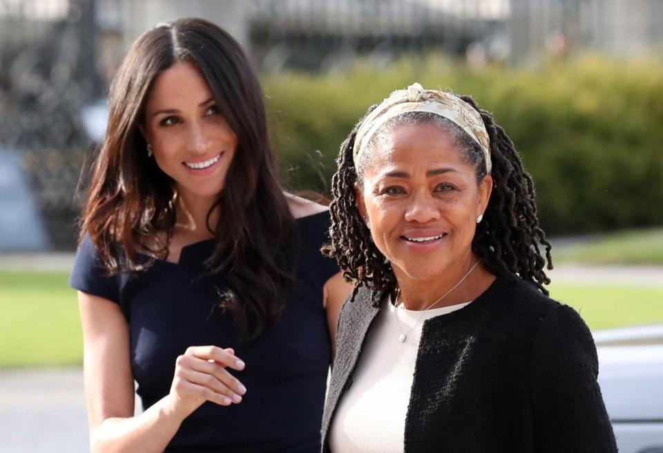 Meghan Markle (left) arrived with her mother Doria Ragland at Cliveden House hotel in the village of Taplow near Windsor on Friday.