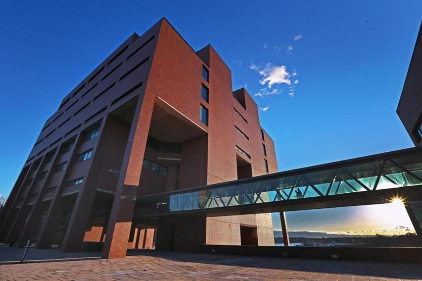 The library building on the campus of UMass Boston in Dorchester.