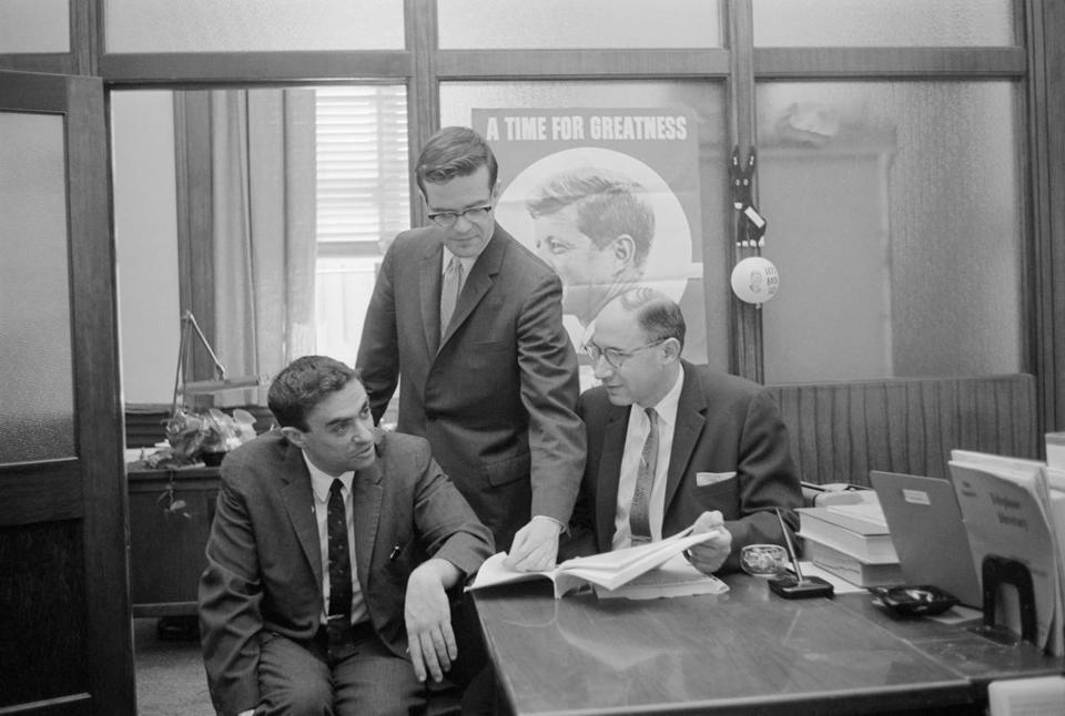 Richard Goodwin (left), consulted with Theodore Sorensen and Myer Feldman on Senator John F. Kennedy's presidential campaign.