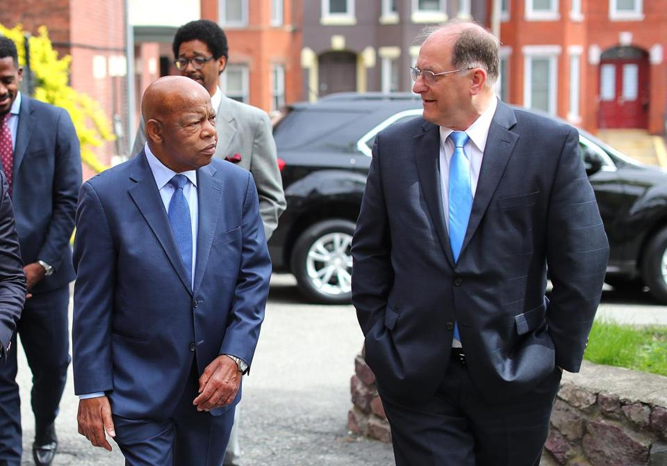 Representatives John Lewis and Michael Capuano walked to Twelfth Baptist Church in Roxbury on Saturday.