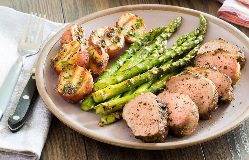 Grilled Spice-Rubbed Pork Tenderloin With Grilled Mustard Potatoes and Simple Grilled Asparagus.