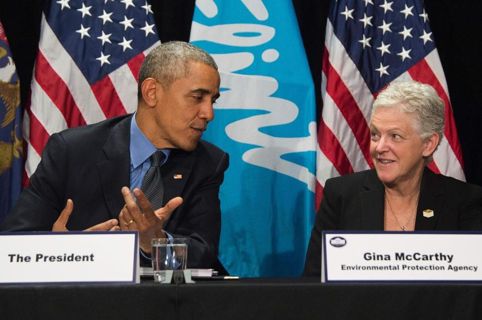 McCarthy says she was honored to help President Obama forge his environmental legacy. In 2016, they appeared together in Flint, Michigan, scene of the biggest regret of her tenure.