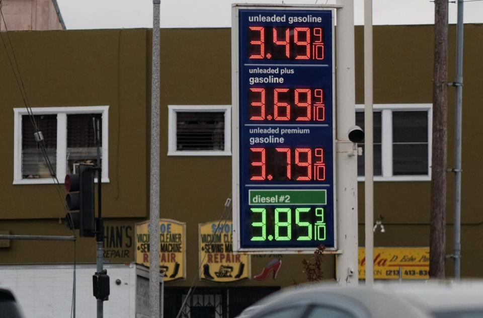 Gasoline prices were seen at a gas station near downtown Los Angeles.