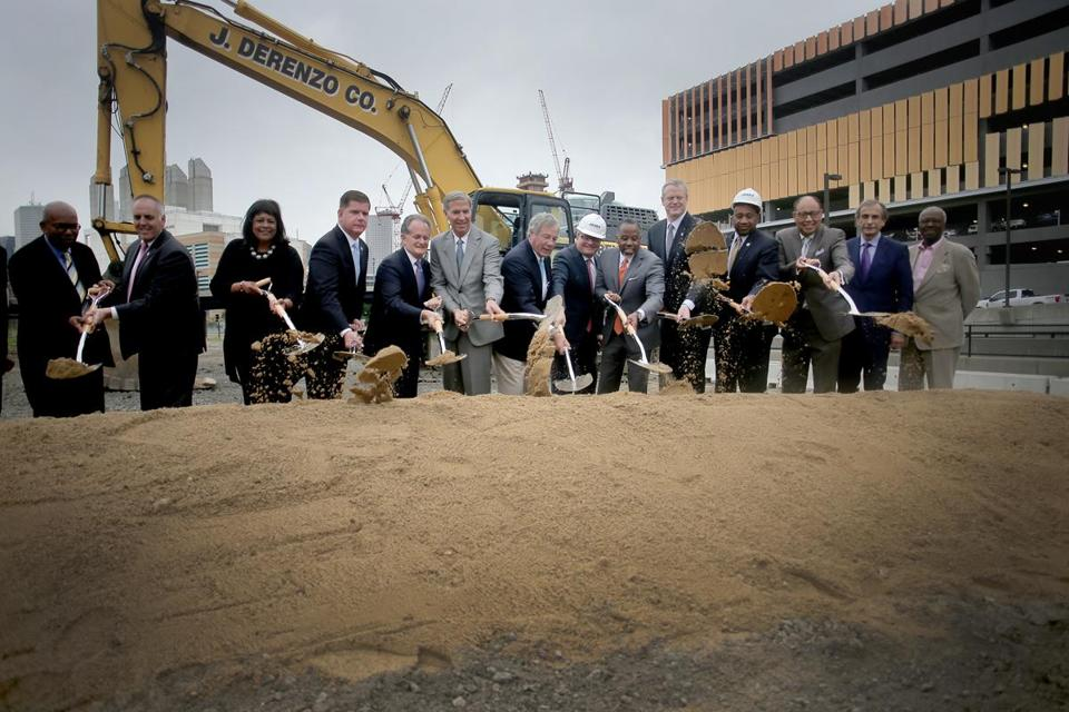 Omni Hotels officials, Mayor Martin Walsh, Governor Charlie Baker, and other dignitaries met to ceremonially break ground on the Omni hotel project across the street from the convention center in the Seaport District.