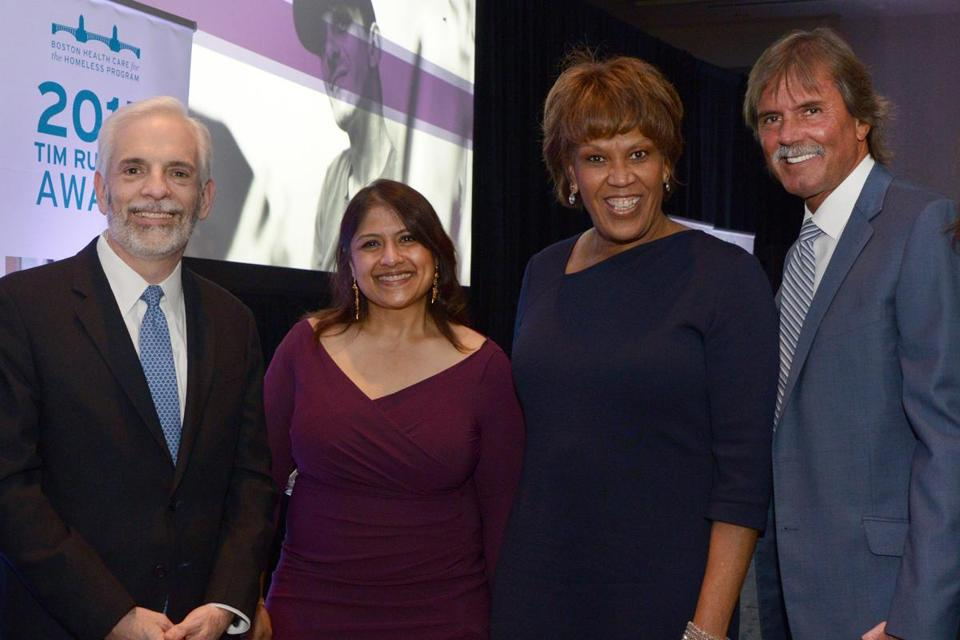 Honorees Andrew Dreyfus and Mala Rafik (left) with Liz Walker and Hall of fame pitcher Dennis Eckersley.