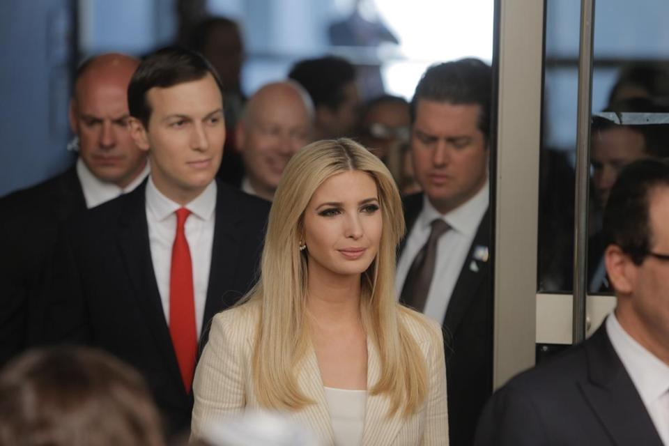 Jared Kushner (left) with his wife, Ivanka Trump, at the new US embassy in Jerusalem earlier this month.
