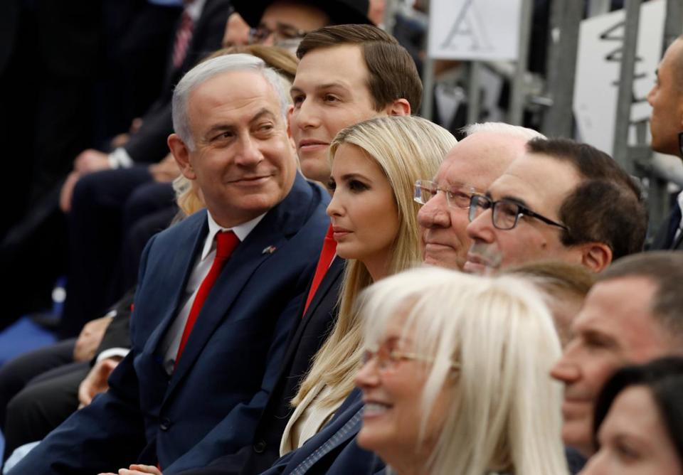 Kushner sat next to Israel's prime minister, Benjamin Netanyahu, during May 14 dedication of the new US embassy in Jerusalem.