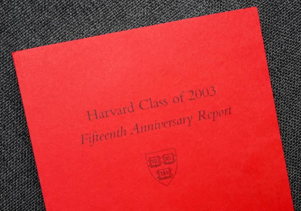 The cover of the 15th reunion Red Book for Harvard's class of 2003.