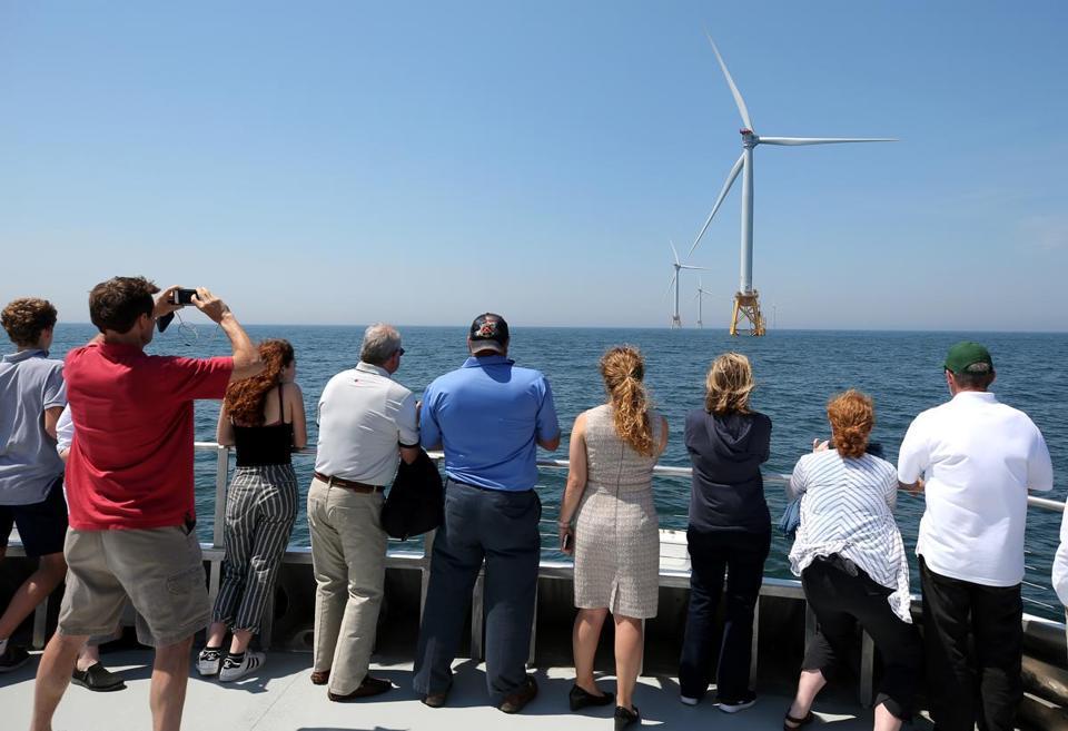 BLOCK ISLAND, RI- 6/13/2017 A tour group by boat at the Block Island Wind Farm, (David L Ryan/Globe Staff ) SECTION: METRO TOPIC 14windfarm