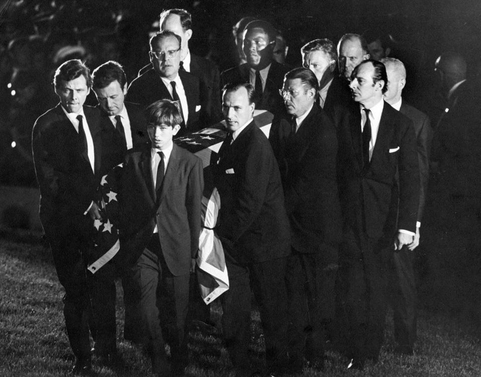The casket of Robert F. Kennedy was carried to the gravesite at Arlington National Cemetery on June 8, 1968.