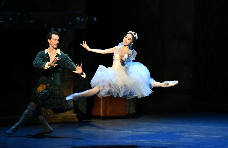 "Patrick Yocum as James and Misa Kuranaga as Sylphide in Boston Ballet's dress rehearsal for ""La Sylphide."""