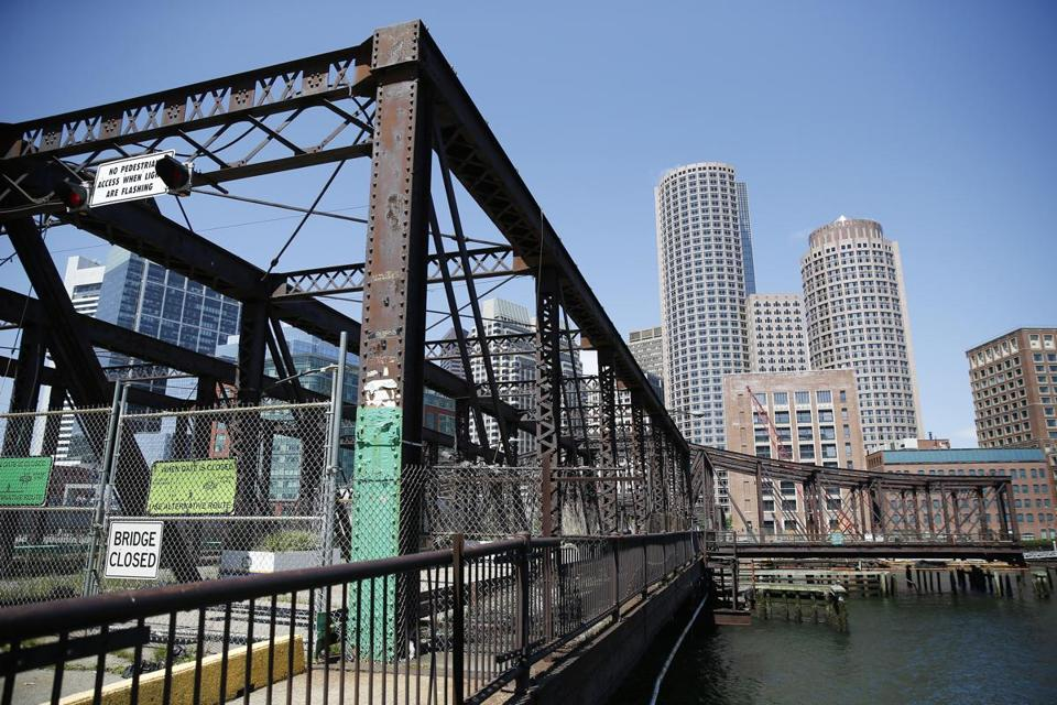 A rebuilt Northern Avenue Bridge could feature shops, cafes, and public art.