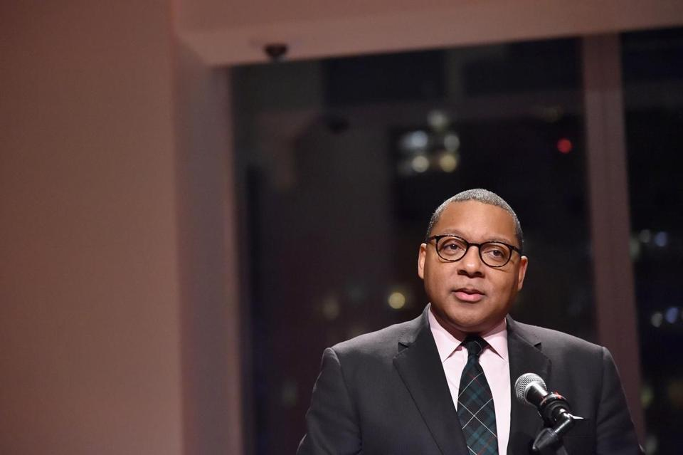 NEW YORK, NY - DECEMBER 17: Jazz at Lincoln Center Managing and Artistic Director, Wynton Marsalis speaks on stage during the opening of the Mica and Ahmet Ertegun Atrium at Jazz at Lincoln Center on December 17, 2015 in New York City. (Photo by Mike Coppola/Getty Images for Jazz at Lincoln Center) -- 08PULITZER