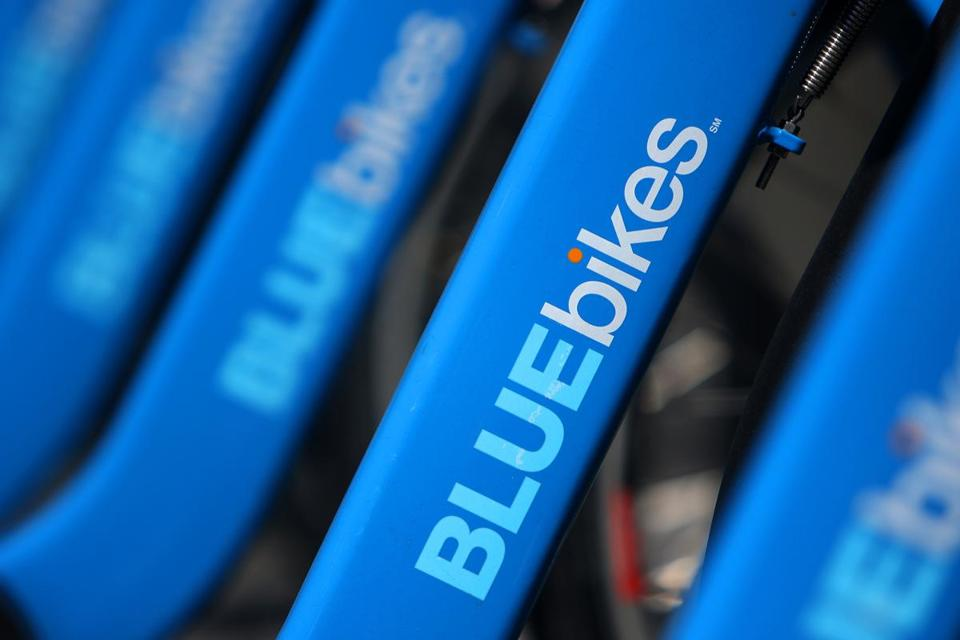 "Boston, MA - 05/24/18 - For files. BLUEbikes docked on Drydock Avenue. Hubway bike share bikes have been rebranded ""BLUEbikes"" with corporate sponsorship from Blue Cross Blue Shield of Massachusetts. By the end of 2019, the system plans on 3,000 bikes and over 100 new stations. The blue bikes can be hired at kiosks in Boston, Cambridge, Somerville, and Brookline. (Lane Turner/Globe Staff) Reporter: () Topic: ()"