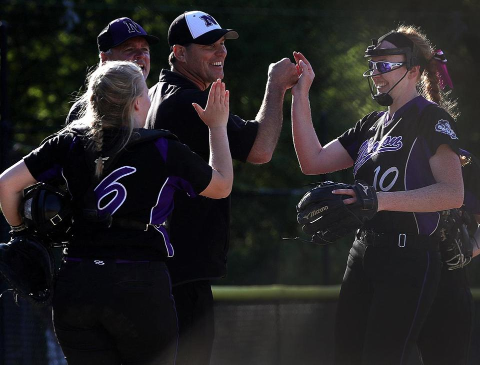 Norton , MA - 5/24/2018 - Norton ace pitcher Kelly Nelson is congratulated after getting the last out in the 9-2 victory over Abington at Norton softball. - (Barry Chin/Globe Staff), Section: Sports, Reporter: Dan Shulman, Topic: 25schrdp, LOID: 8.4.2039130304.