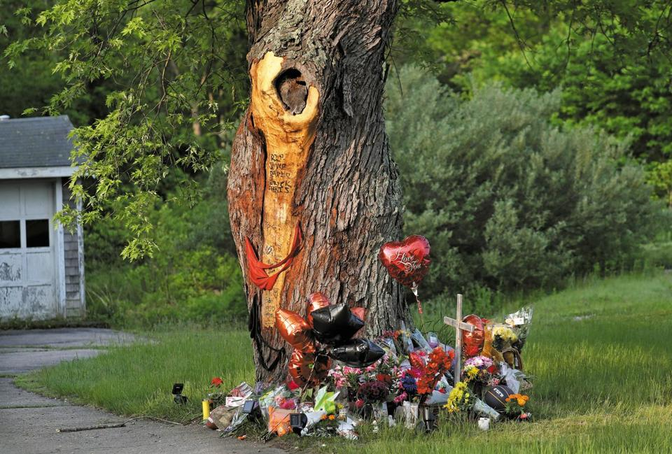 A memorial was made at the scene of the East Bridgewater crash that killed four teenagers on May 19.