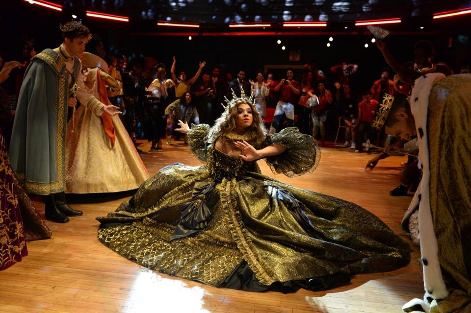 "Hailie Sahar in one of the dance sequences from a ballroom competition in ""Pose."""