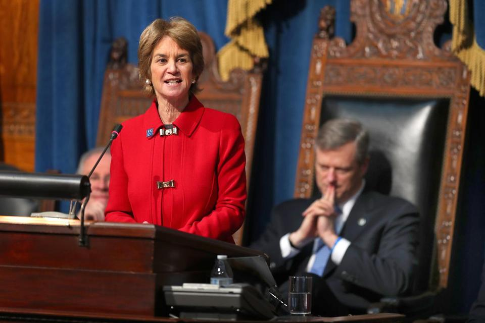 Kathleen Kennedy Townsend, daughter of the late Senator Robert Kennedy, spoke at a joint session of the Massachusetts legislature in February 2017.