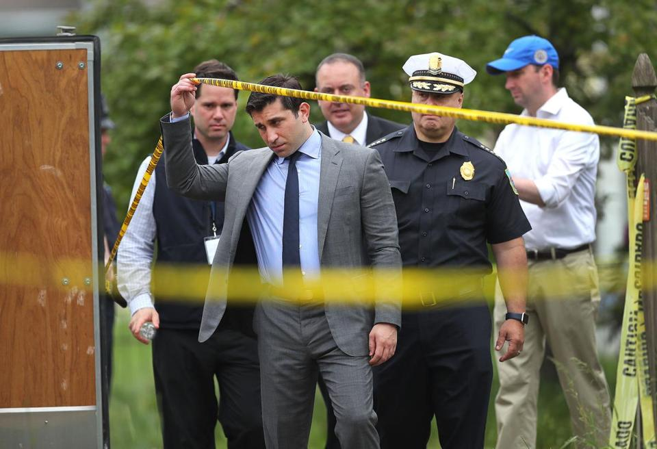 Hampden District Attorney Anthony Gulluni visited the crime scene on Friday. Investigators were to continue searching through the weekend.