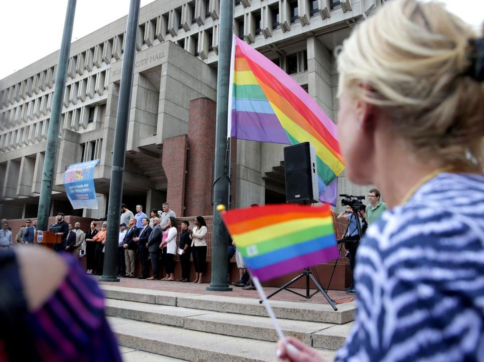 06/01/2018 Boston Ma- Boston Pride Week Kick off at Boston City Hall Plaza . The pride flag was raised above city Hall Plaza at event. Jonathan Wiggs /Globe Staff Reporter:Topic.