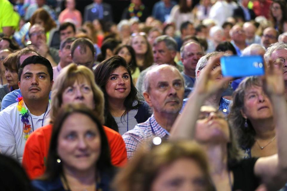 Delegates listened to candidate speeches Saturday at the state Democratic Party convention in Worcester.