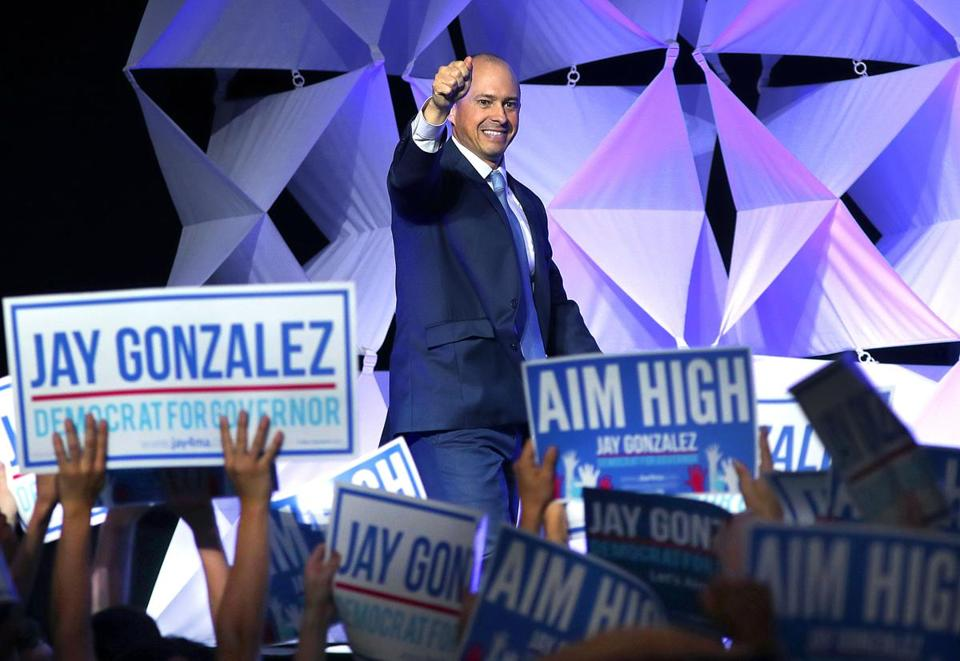 Worcester- 06/02/18- The Democratic State Convention was held at the DCU Center. Jay Gonzalez waves to the crowd as he takes the stage after winning the endorsement for governor. Photo by John Tlumacki/Globe Staff(metro)