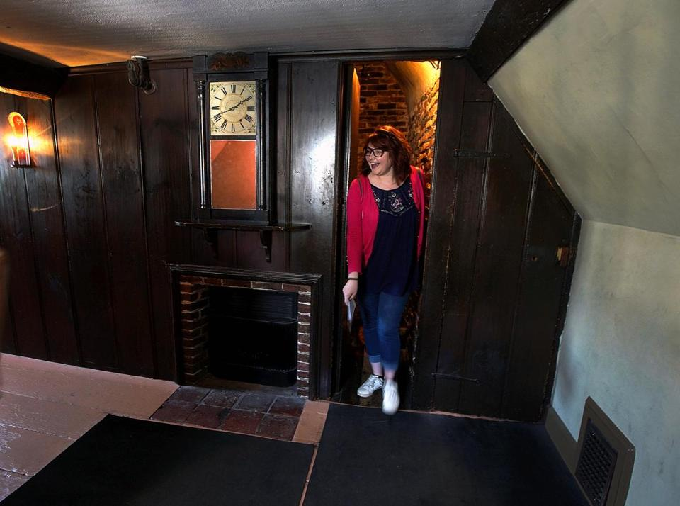 Salem, MA - 6/02/2018 - Shelby Bailey of Bay City Michigan enters an upstairs room from a passageway leading from the dining room a floor below. The House of Seven Gables is celebrating its 350th anniversary. - (Barry Chin/Globe Staff), Section: Regional/All Zones, Reporter: James Sullivan, Topic: 24zogables, LOID: 8.4.2123146174.