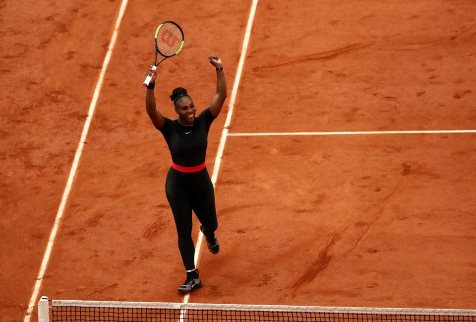 PARIS, FRANCE - JUNE 02: Serena Williams of The United States celebrates victory during the ladies singles third round match against Julia Georges of Germany during day seven of the 2018 French Open at Roland Garros on June 2, 2018 in Paris, France. (Photo by Cameron Spencer/Getty Images)