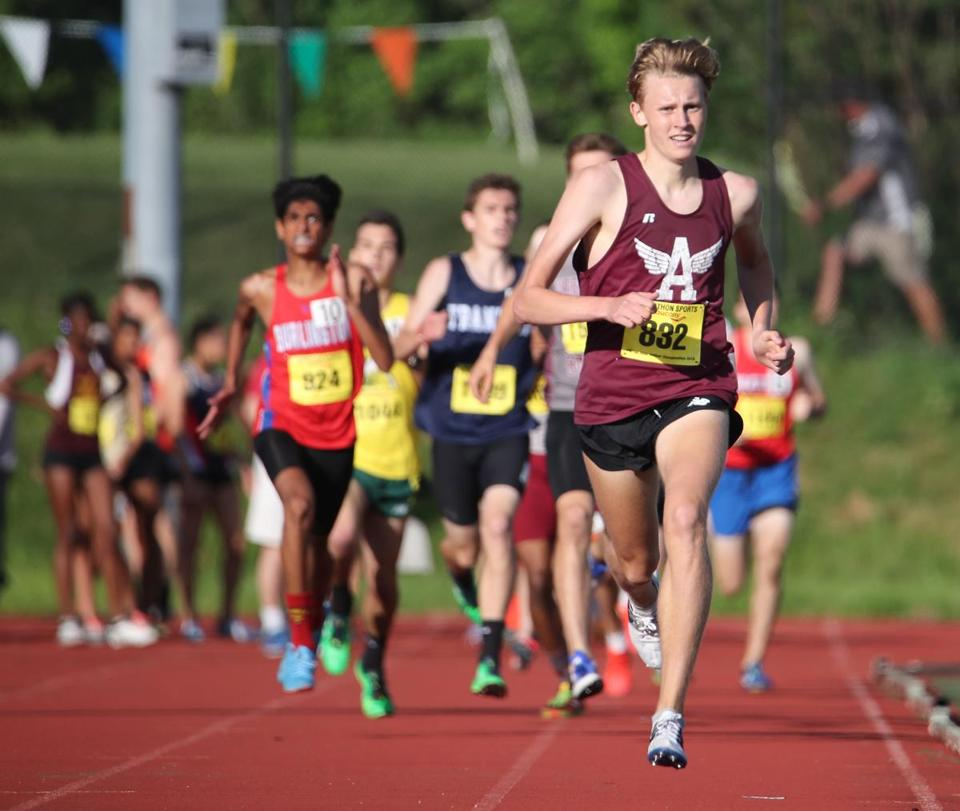 Fitchburg MA 6/2/18 Ryan Oosting runs away from the pack during the mile run at the All-State track & field meet at Fitchburg State University . (photo by Matthew J. Lee/Globe staff) topic: 03schtrack reporter: