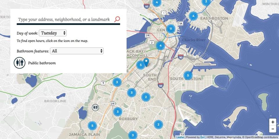 06bathrooms -- You can now find every public bathroom in Boston with this handy, interactive map. (City of Boston)