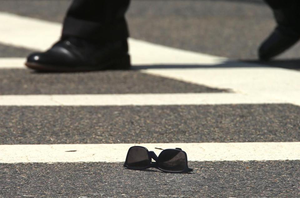 Sunglasses belonging to the 80-year-old man who was struck and killed in a crosswalk in the 1300 block of Commonwealth Avenue on Wednesday.