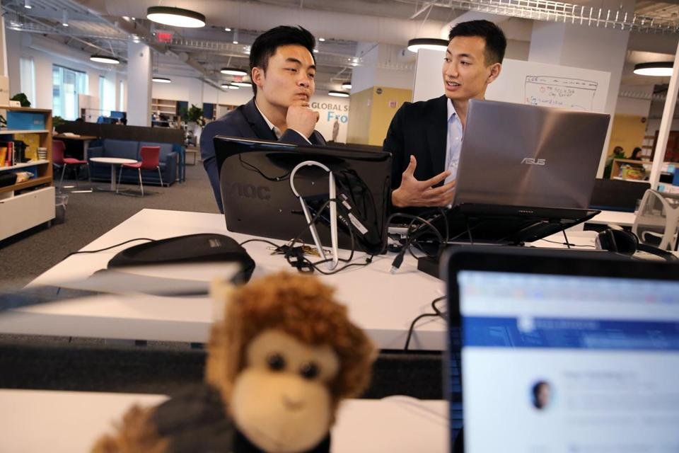 Scholar Jet cofounders Joseph Alim (left) and Tuan Ho pose for a portrait at the GSV Lab in Boston.