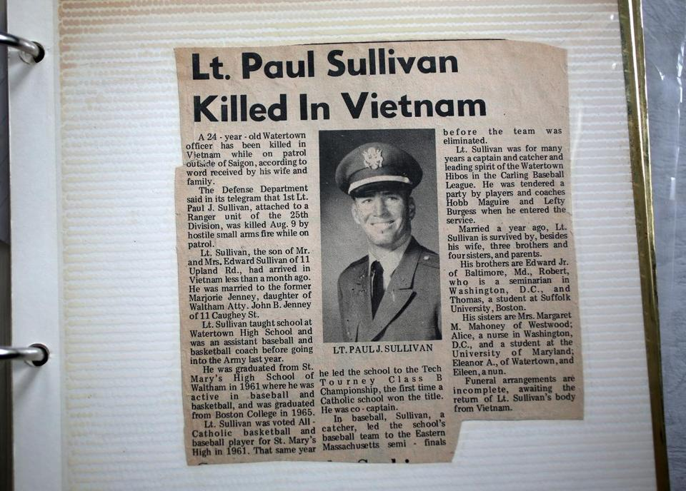 A newspaper clipping about Sullivan's death.