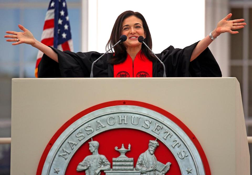Facebook executive Sheryl Sandberg addressed MIT's Class of 2018 on Friday.